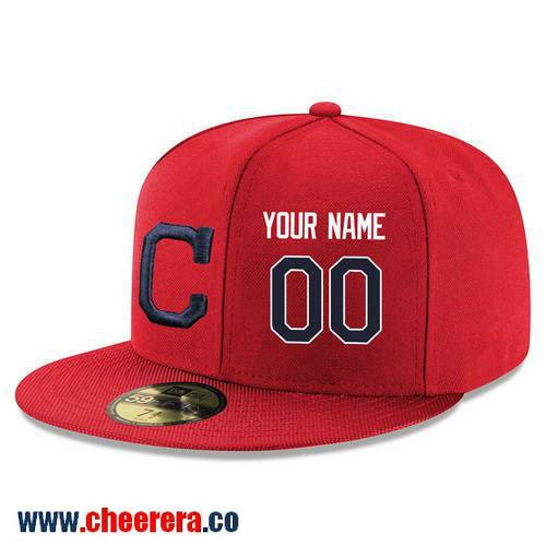 Cleveland Indians Custom Snapback Cap MLB Player Red with Navy Blue Number Hat