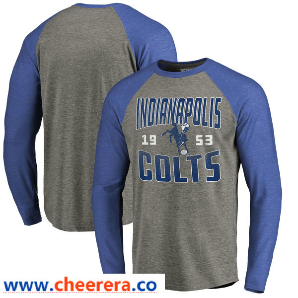 Indianapolis Colts NFL Pro Line by Fanatics Branded Timeless Collection Antique Stack Long Sleeve Tri-Blend Raglan T-Shirt Ash