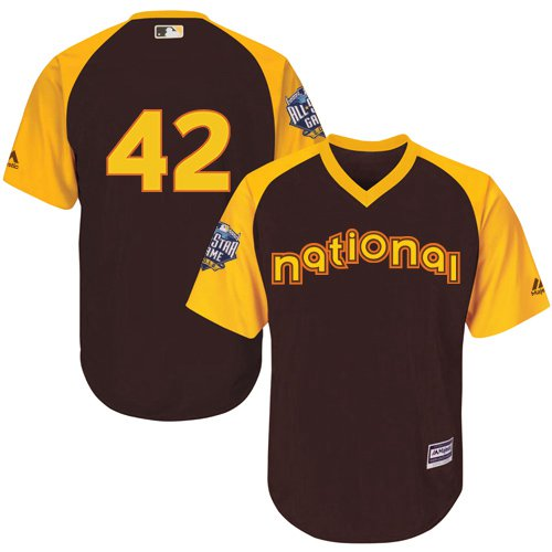 Jackie Robinson Brown 2016 MLB All-Star Jersey - Men's National League Los Angeles Dodgers #42 Cool Base Game Collection