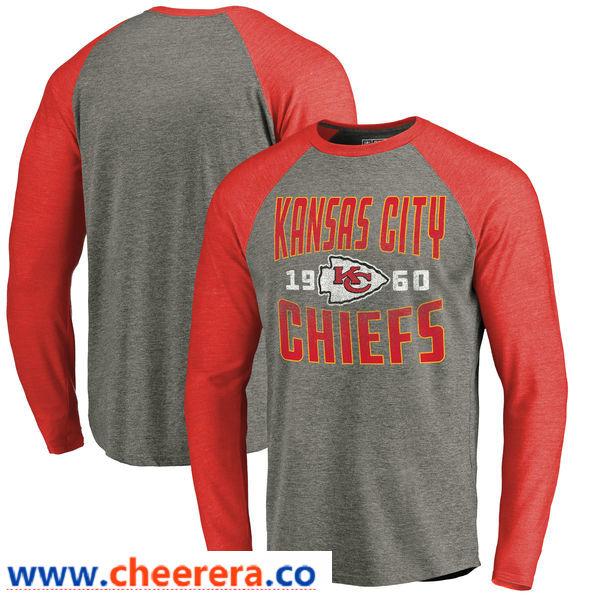 Kansas City Chiefs NFL Pro Line by Fanatics Branded Timeless Collection Antique Stack Long Sleeve Tri-Blend Raglan T-Shirt Ash