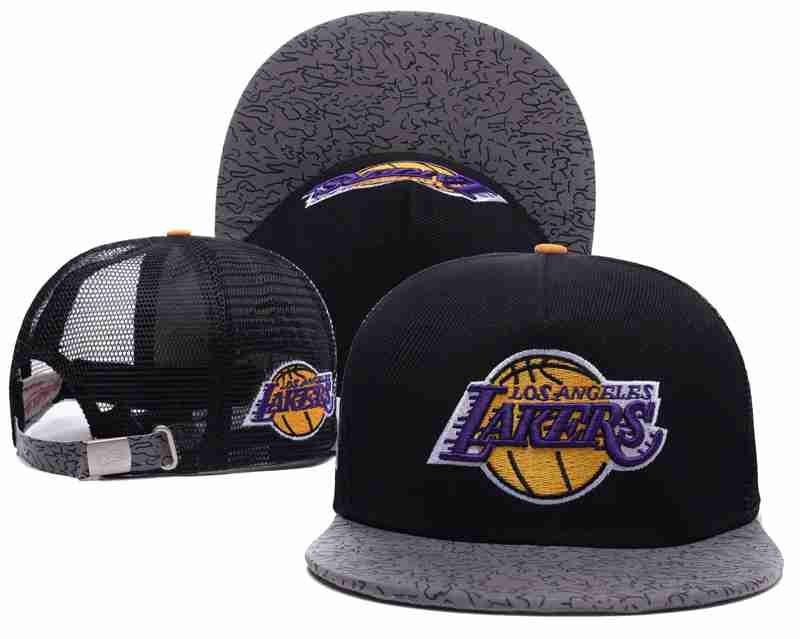 Los Angeles Lakers Mesh Snapback Hat Black-TX11