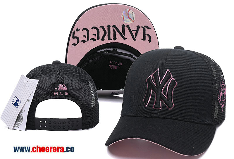 MLB New York Yankees Adjustable Black with Pink Snapback Hat in Mesh style