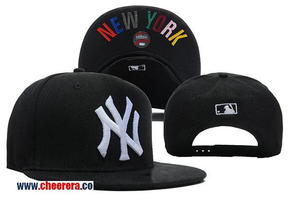MLB New York Yankees Adjustable Snapback Hat in Black with White Logo