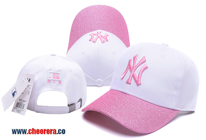 MLB New York Yankees Adjustable Snapback Hat in White with Pink Logo