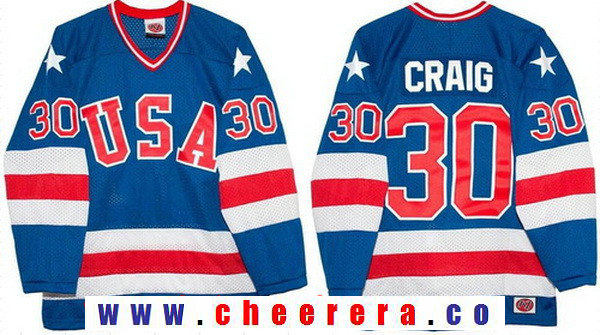 Men's 1980 Olympics USA #30 Jim Craig Royal Blue Throwback Stitched Vintage Ice Hockey Jersey