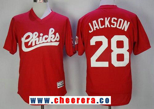 Men's 1986 Memphis Chicks Minor League #28 Bo Jackson Red Vintage Stitched Baseball Jersey