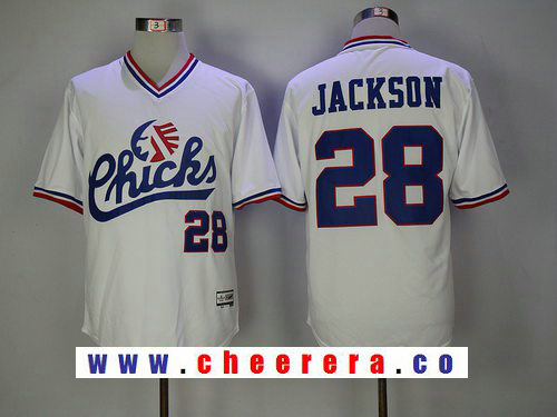 Men's 1986 Memphis Chicks Minor League #28 Bo Jackson White Vintage Stitched Baseball Jersey