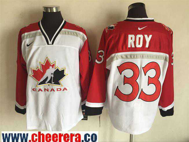 Men's 1998 Team Canada #33 Patrick Roy White Nike Olympic Throwback Stitched Hockey Jersey