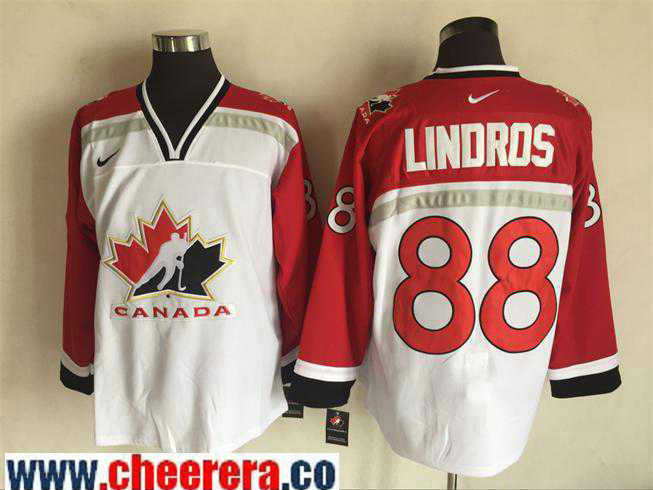 Men's 1998 Team Canada #88 Eric Lindros White Nike Olympic Throwback Stitched Hockey Jersey