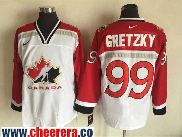 Men's 1998 Team Canada #99 Wayne Gretzky White Nike Olympic Throwback Stitched Hockey Jersey