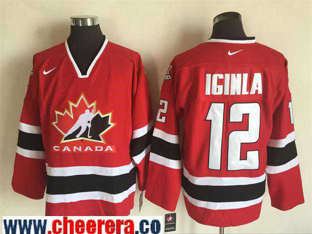 Men's 2002 Team Canada #12 Jarome Iginla Red Nike Olympic Throwback Stitched Hockey Jersey