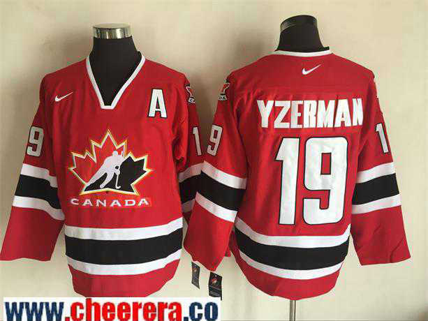Men's 2002 Team Canada #19 Steve Yzerman Red Nike Olympic Throwback Stitched Hockey Jersey