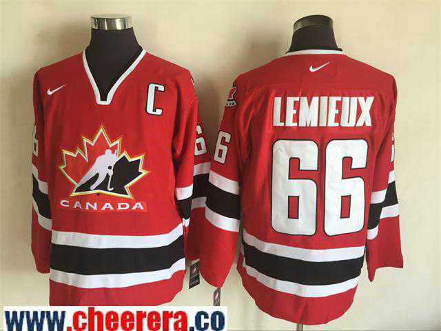 Men's 2002 Team Canada #66 Mario Lemieux Red Nike Olympic Throwback Stitched Hockey Jersey
