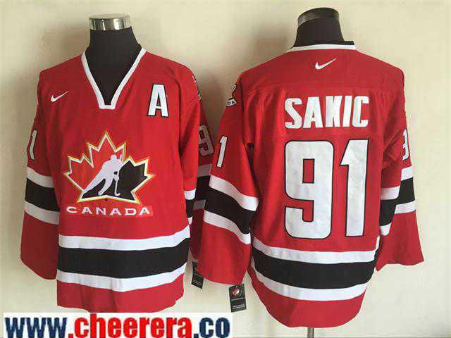 Men's 2002 Team Canada #91 Joe Sakic Red Nike Olympic Throwback Stitched Hockey Jersey