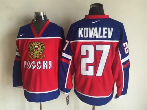 Men's 2002 Team Russia #27 Alexei Kovalev Red Nike Olympic Throwback Hockey Jersey