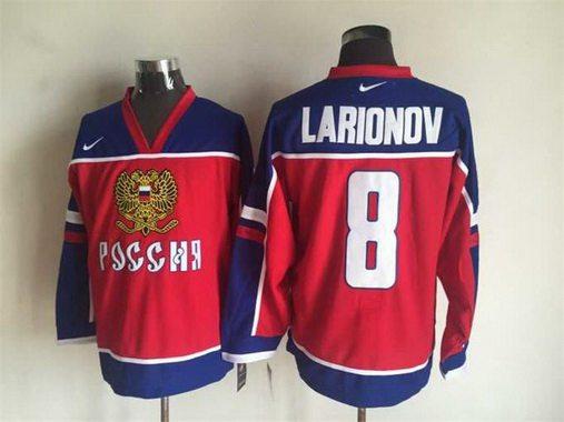 Men's 2002 Team Russia #8 Igor Larionov Red Nike Olympic Throwback Hockey Jersey