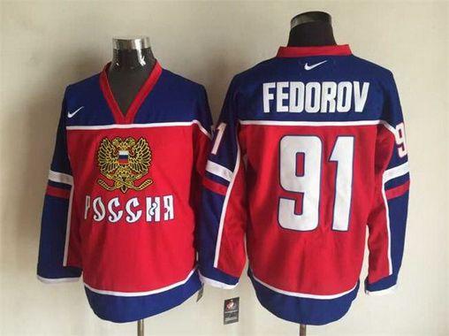 Men's 2002 Team Russia #91 Sergei Fedorov Red Nike Olympic Throwback Hockey Jersey
