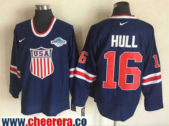 Men's 2004 World Cup #16 Brett Hull Navy Blue Nike Olympic USA Throwback Stitched Hockey Jersey