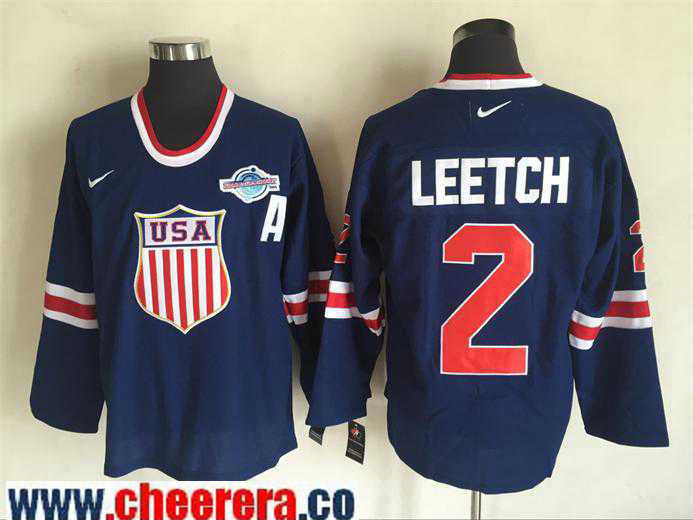 Men's 2004 World Cup #2 Brian Leetch Navy Blue Nike Olympic USA Throwback Stitched Hockey Jersey
