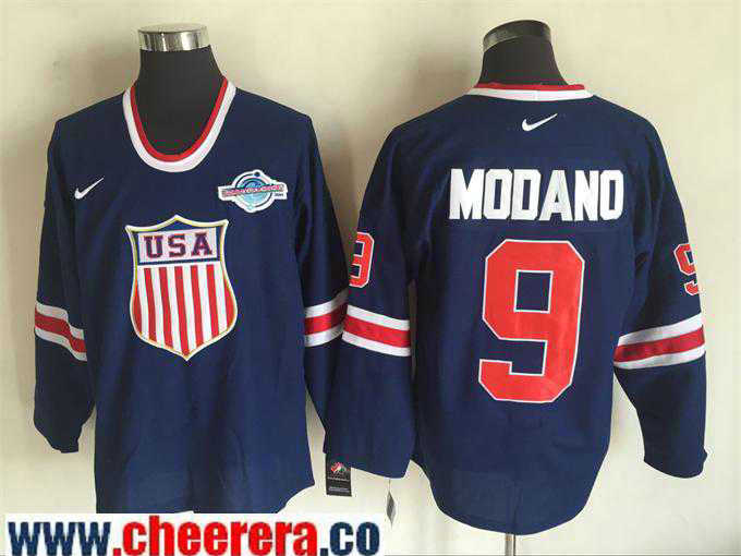Men's 2004 World Cup #9 Mike Modano Navy Blue Nike Olympic USA Throwback Stitched Hockey Jersey