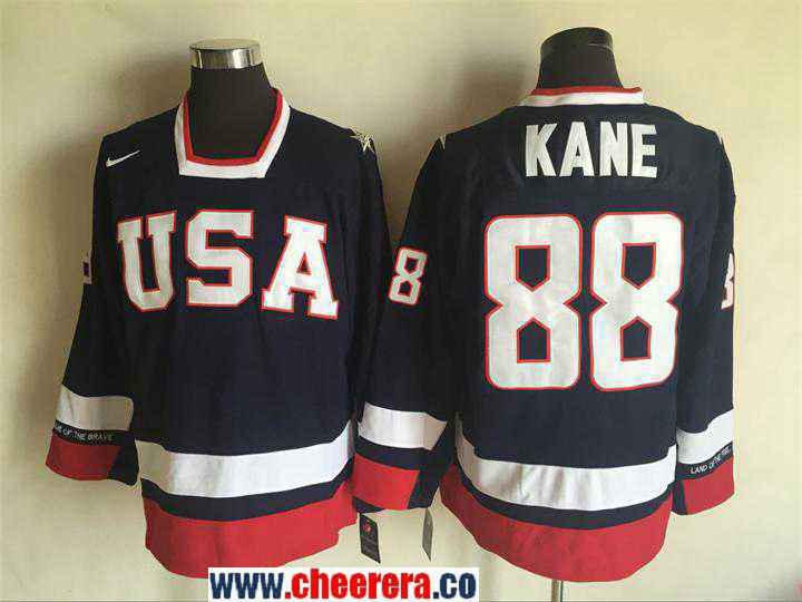 Men's 2010 Olympics USA #88 Patrick Kane Nike Navy Blue Throwback Stitched Vintage Hockey Jersey