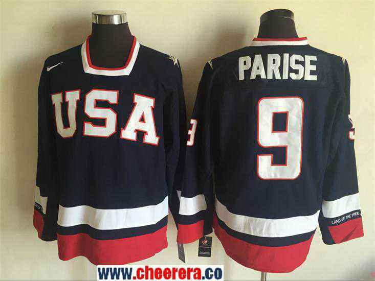 Men's 2010 Olympics USA #9 Zach Parise Nike Navy Blue Throwback Stitched Vintage Hockey Jersey