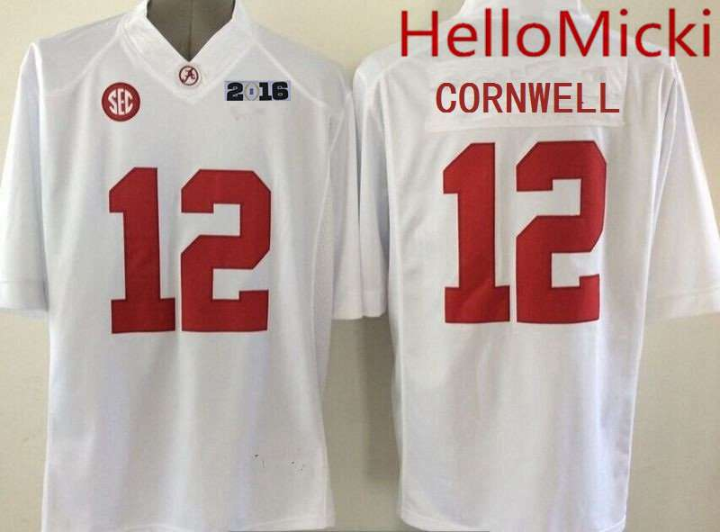 Men's Alabama Crimson Tide #12 David Cornwell White 2016 BCS College Football Nike Limited Jersey
