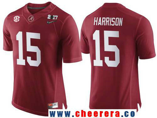 Men's Alabama Crimson Tide #15 Ronnie Harrison Red 2017 Championship Game Patch Stitched CFP Nike Limited Jersey