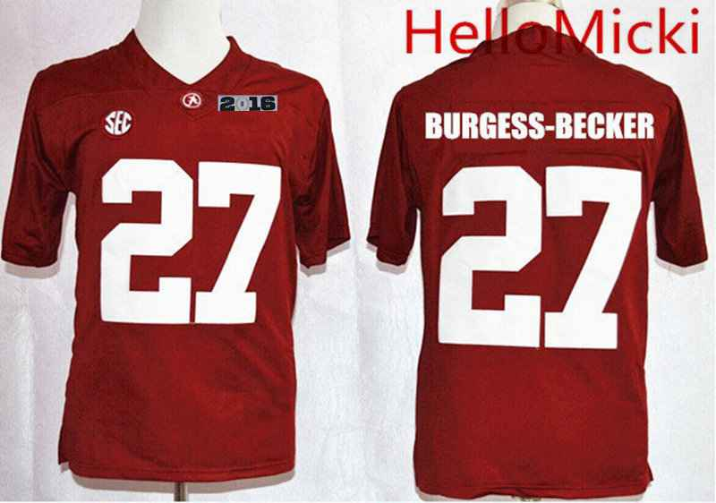 Men's Alabama Crimson Tide #27 Shawn Burgess-Becker Red 2016 BCS College Football Nike Limited Jersey