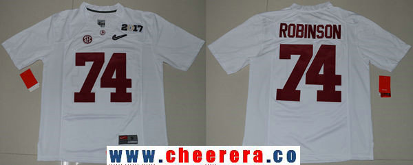 Men's Alabama Crimson Tide #74 Cam Robinson White 2017 Championship Game Patch Stitched CFP Nike Limited Jersey