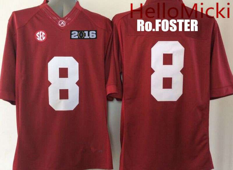 Men's Alabama Crimson Tide #8 Robert Foster Red 2016 BCS patch College Football Nike Limited Jersey