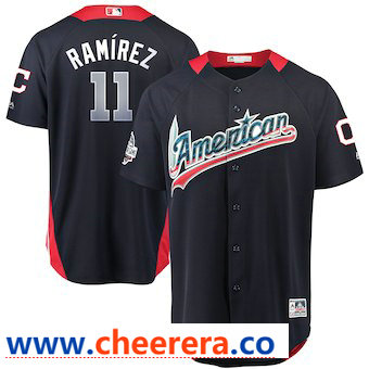 Men's American League #11 Jose Ramirez Majestic Navy 2018 MLB All-Star Game Home Run Derby Player Jersey