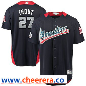 Men's American League #27 Mike Trout Majestic Navy 2018 MLB All-Star Game Home Run Derby Player Jersey