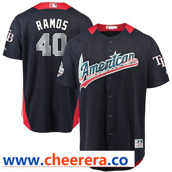 Men's American League #40 Wilson Ramos Majestic Navy 2018 MLB All-Star Game Home Run Derby Player Jersey