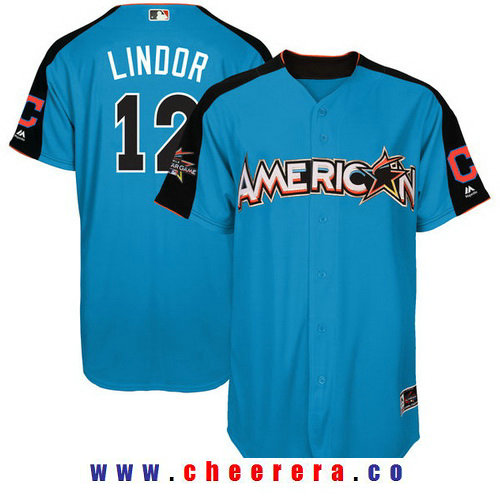 Men's American League Cleveland Indians #12 Francisco Lindor Majestic Blue 2017 MLB All-Star Game Authentic Home Run Derby Jersey