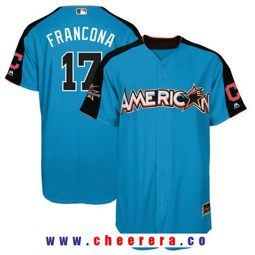 Men's American League Cleveland Indians #17 Terry Francona Majestic Blue 2017 MLB All-Star Game Home Run Derby Player Jersey