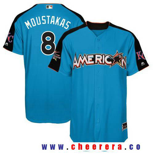 Men's American League Kansas City Royals #8 Mike Moustakas Majestic Blue 2017 MLB All-Star Game Home Run Derby Player Jersey