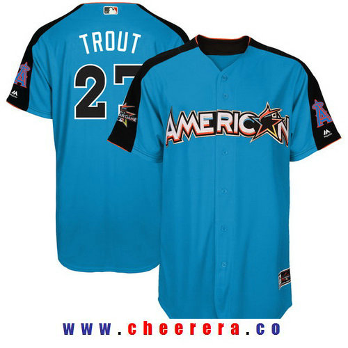 Men's American League Los Angeles Angels Of Anaheim #27 Mike Trout Majestic Blue 2017 MLB All-Star Game Authentic Home Run Derby Jersey
