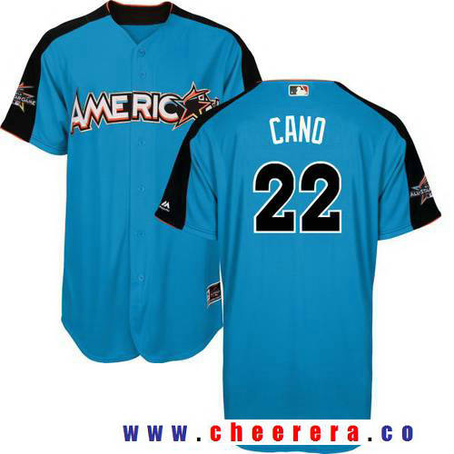 Men's American League Seattle Mariners #22 Robinson Cano Majestic Blue 2017 MLB All-Star Game Authentic Home Run Derby Jersey