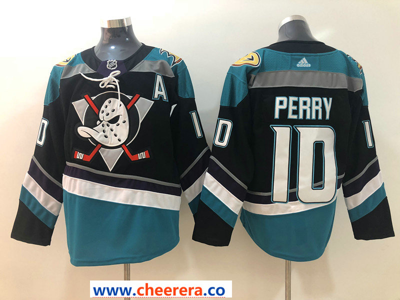 Men's Anaheim Ducks #10 Corey Perry 2018 New Black with Teal Stitched adidas NHL Jersey