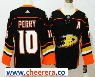 Men's Anaheim Ducks #10 Corey Perry Black With A Patch 2017-2018 Hockey Stitched NHL Jersey