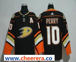 Men's Anaheim Ducks #10 Corey Perry Black With Handwork Sequin Fashion Team Logo Home 2017-2018 Hockey Stitched NHL Jersey