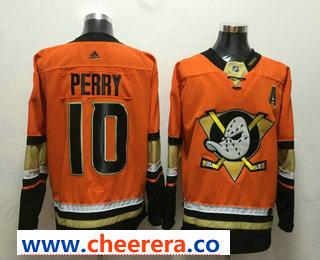 Men's Anaheim Ducks #10 Corey Perry Orange With A Patch 2017-2018 Hockey Stitched NHL Jersey