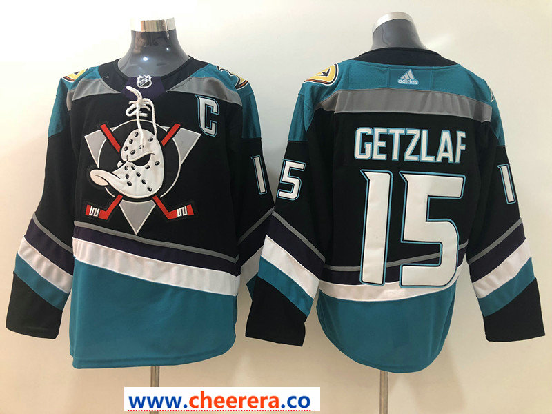 Men's Anaheim Ducks #15 Ryan Getzlaf 2018 New Black with Teal Stitched adidas NHL Jersey