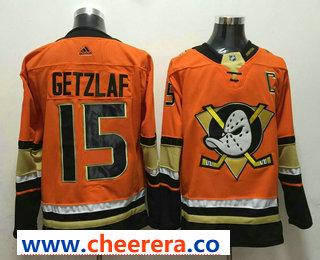 Men's Anaheim Ducks #15 Ryan Getzlaf Orange With C Patch 2017-2018 Hockey Stitched NHL Jersey