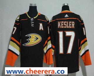 Men's Anaheim Ducks #17 Ryan Kesler Black With Handwork Sequin Fashion Team Logo Home 2017-2018 Hockey Stitched NHL Jersey