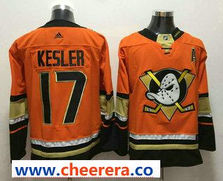 Men's Anaheim Ducks #17 Ryan Kesler Orange With A Patch 2017-2018 Hockey Stitched NHL Jersey