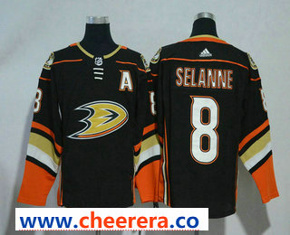 Men's Anaheim Ducks #8 Teemu Selanne Black With A Patch 2017-2018 Hockey Stitched NHL Jersey