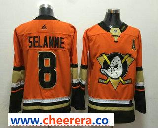 Men's Anaheim Ducks #8 Teemu Selanne Orange With A Patch 2017-2018 Hockey Stitched NHL Jersey