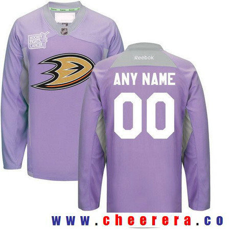 Men's Anaheim Ducks Purple Pink Custom Reebok Hockey Fights Cancer Practice Jersey
